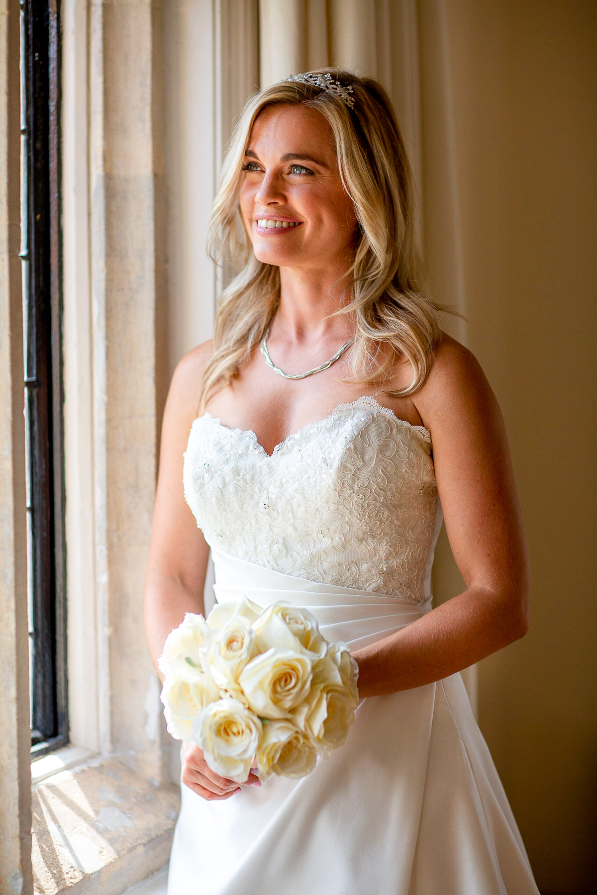 Notley Abbey wedding bridal suite portrait