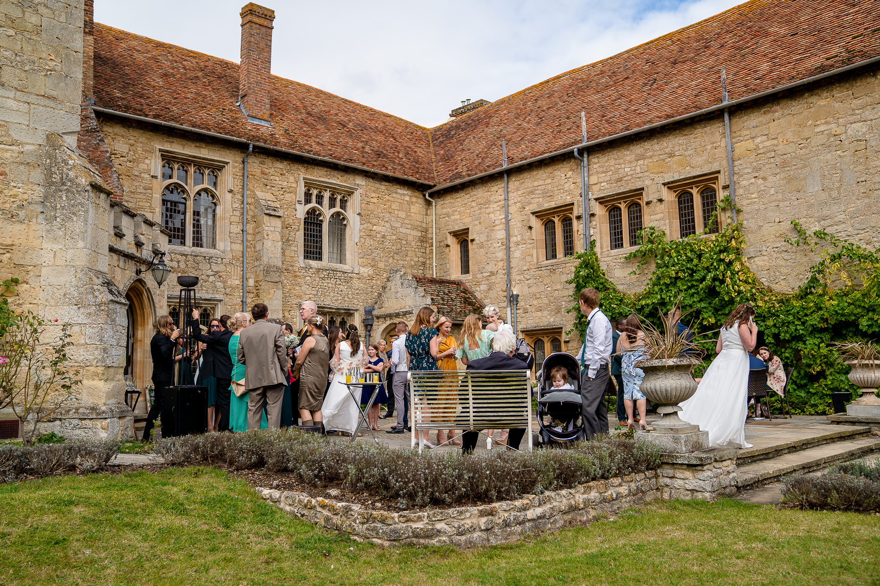 Notley Abbey wedding front terrace