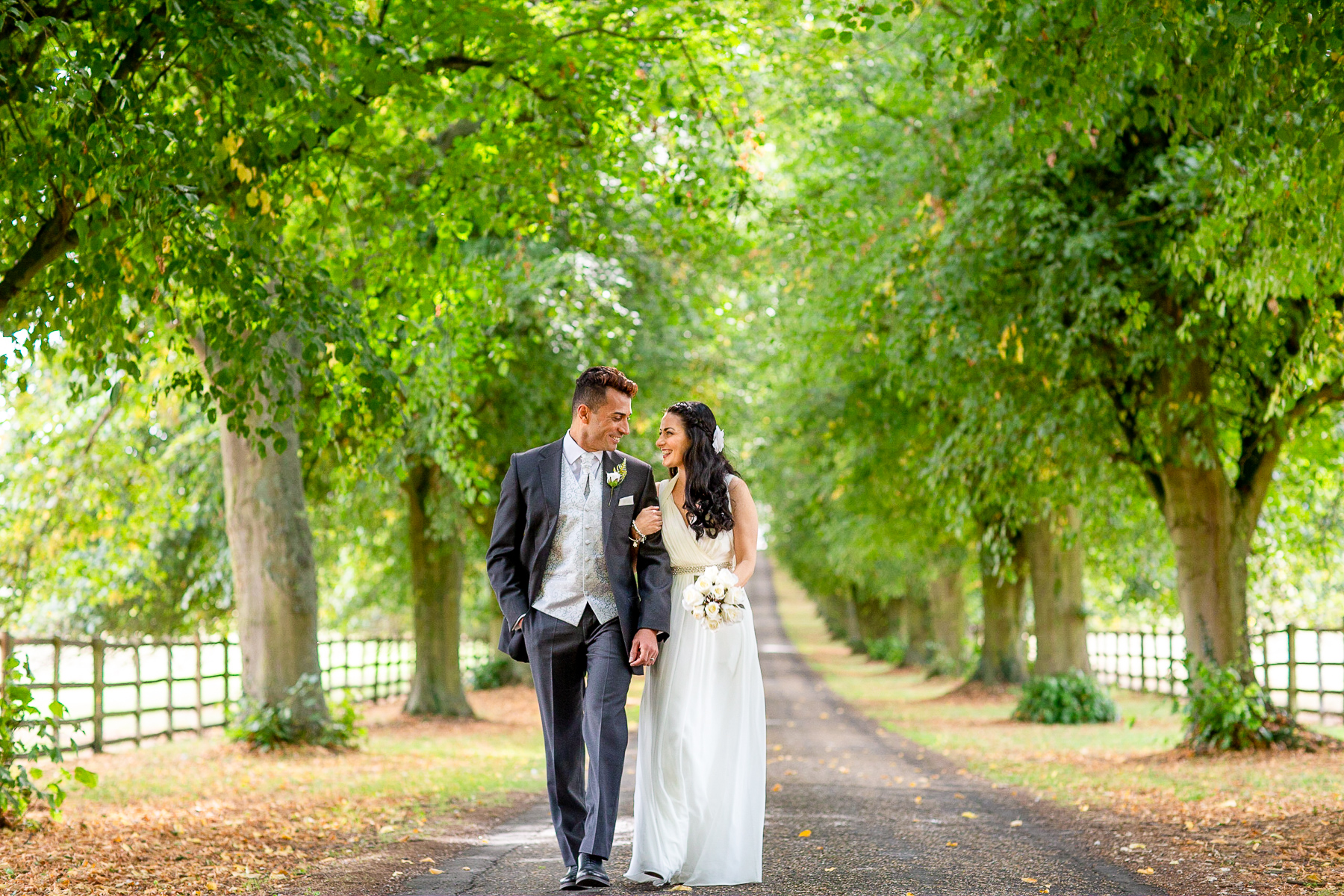 Notley Abbey wedding tree lined driveway